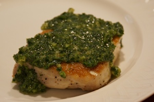 parsley miso pesto fish